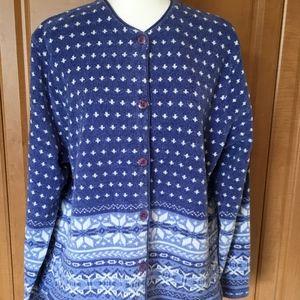 Cardigan Sweater Blue/White Print XL